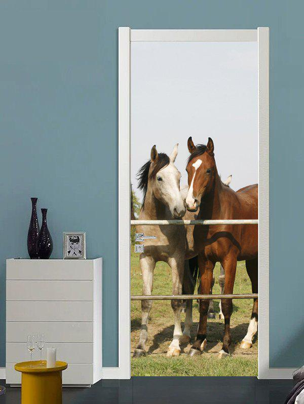 Trendy Horse Couple Print Door Art Stickers