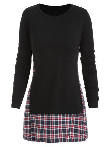 Checked Panel Long Sleeve Top