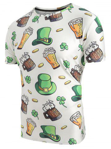 Beer Hat Print Elastic Slim Fit T-shirt