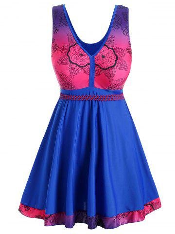 Plus Size V Neck Flower Skirted Tankini Set