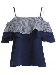 Plus Size Short Sleeve Layered Checked Top -