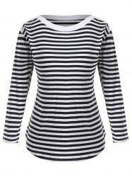Boat Neck Plus Size Striped Tee -