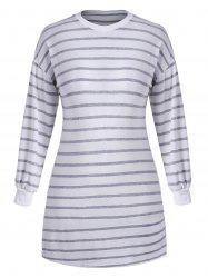 Striped Long Sleeve Plus Size Tee Dress -