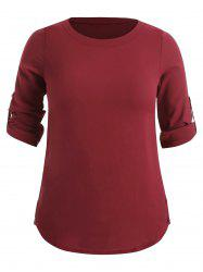 Pullover Plus Size Rolled Sleeve Blouse -