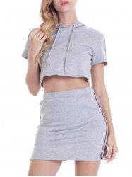 Hooded Striped Top with Mini Skirt -
