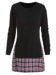 Checked Panel Long Sleeve Top -