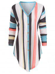 Striped Button Up Knotted Top -