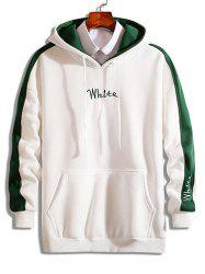 Color Block Embroidered Letter Fleece Hoodie -