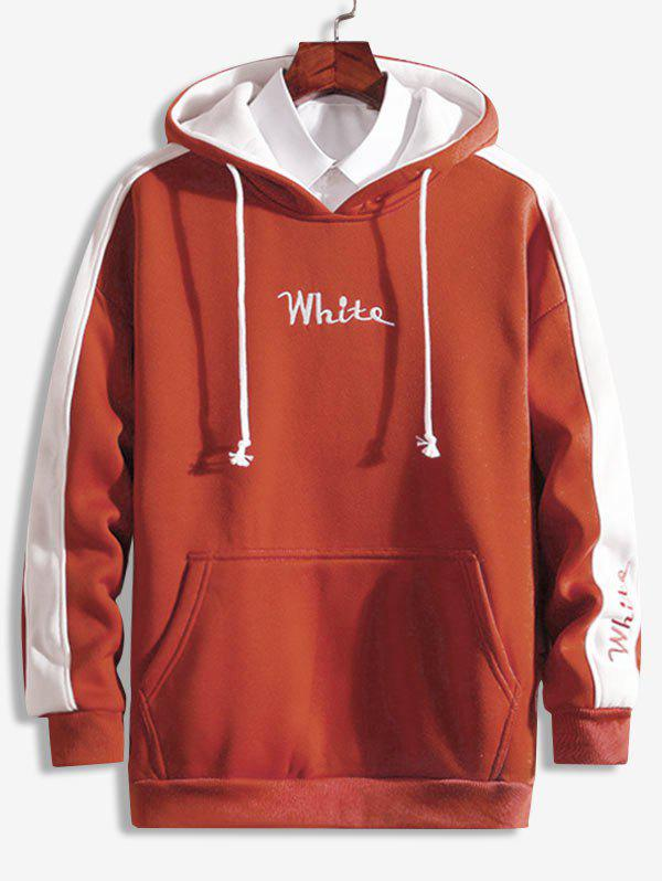 New Color Block Embroidered Letter Fleece Hoodie