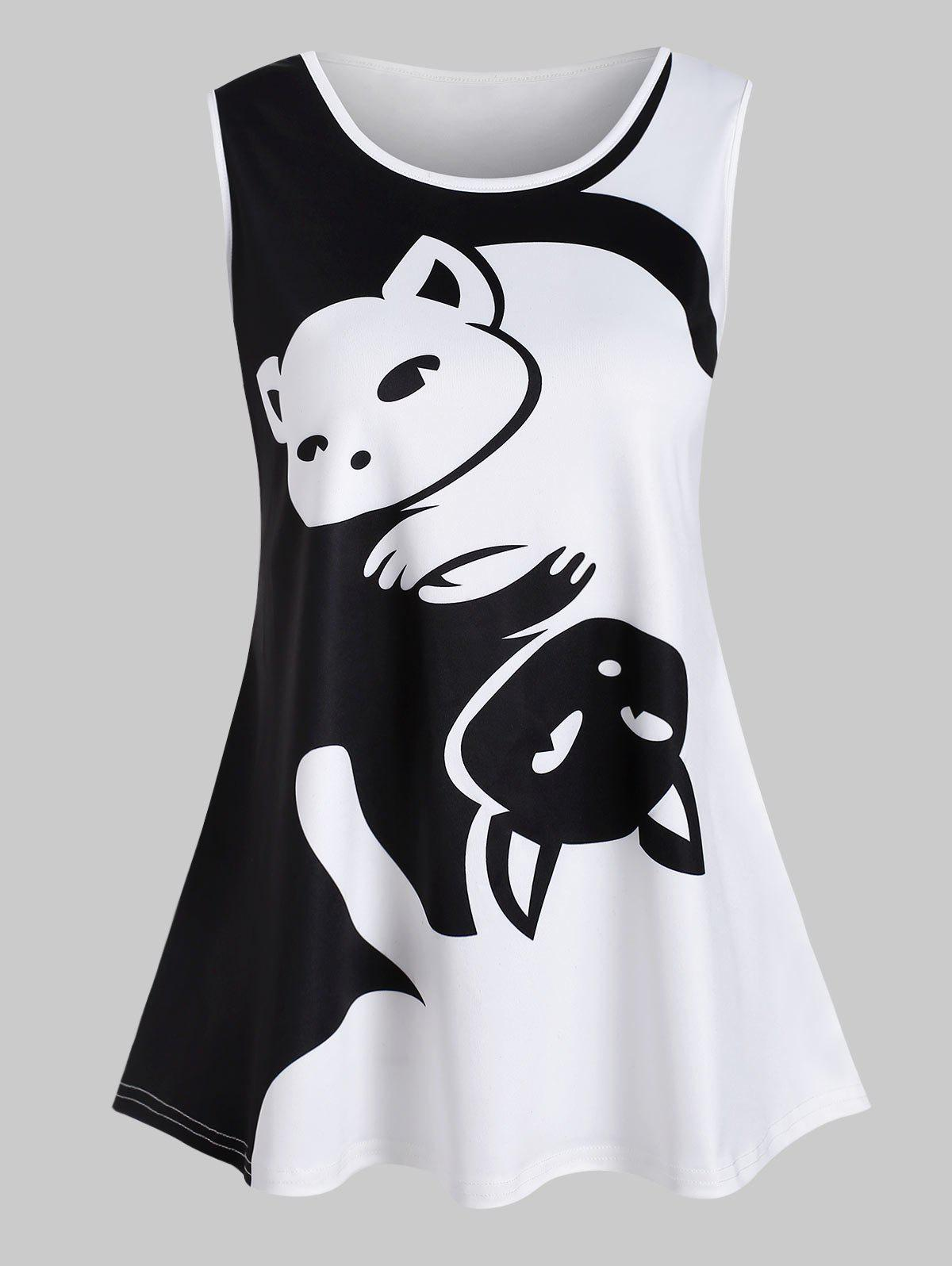 Best Valentine Plus Size Two Tone Cat Pattern Tank Top