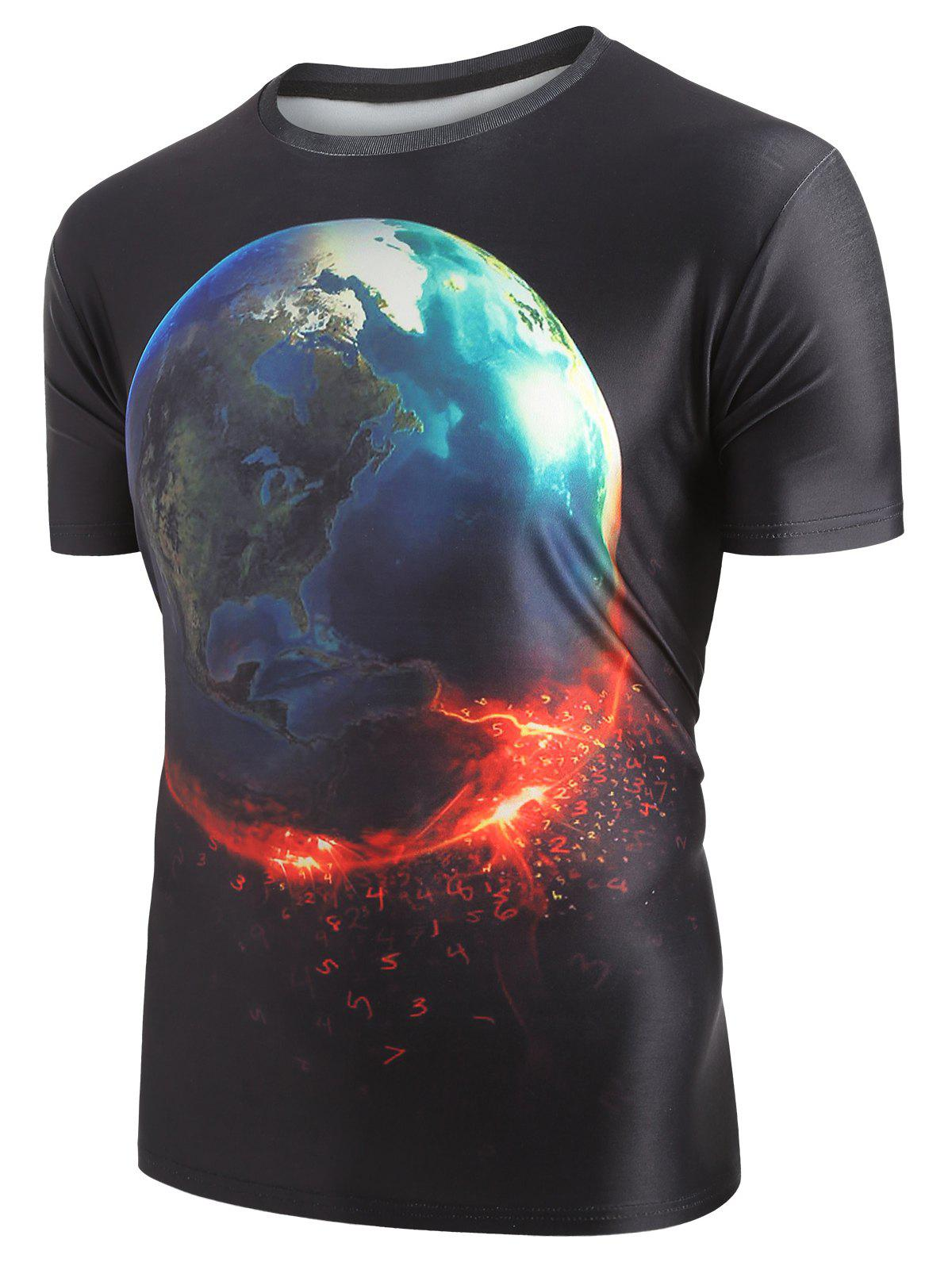 New 3D Earth Print Pullover Short Sleeve T-shirt