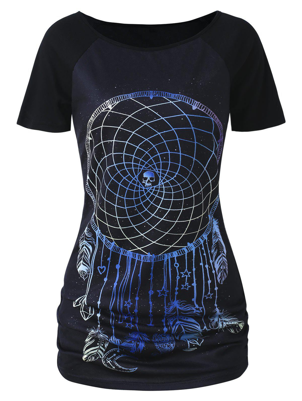 Discount Feather Print Plus Size T-shirt