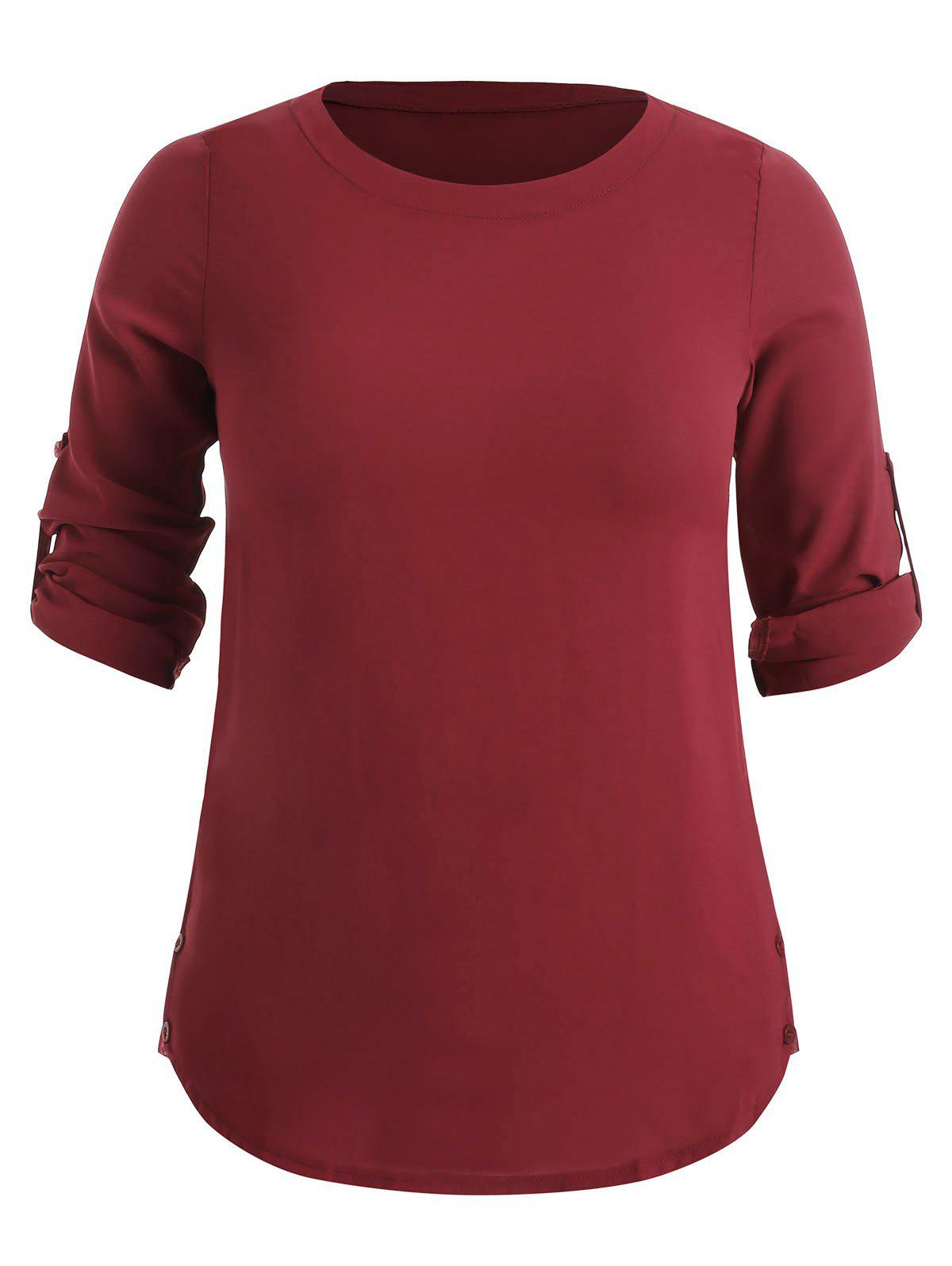 Online Pullover Plus Size Rolled Sleeve Blouse
