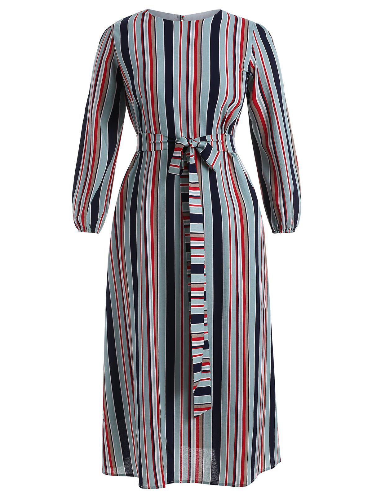 Chic Long Sleeve Plus Size Striped Belted Dress