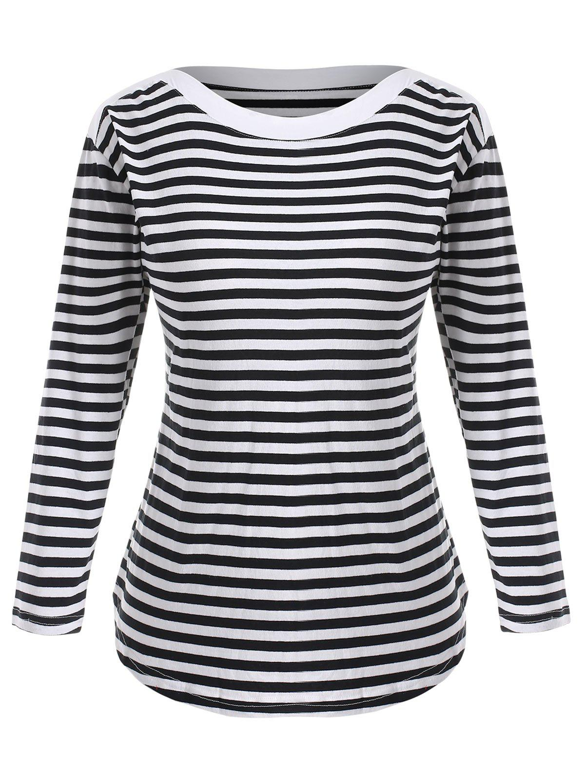 Outfits Boat Neck Plus Size Striped Tee