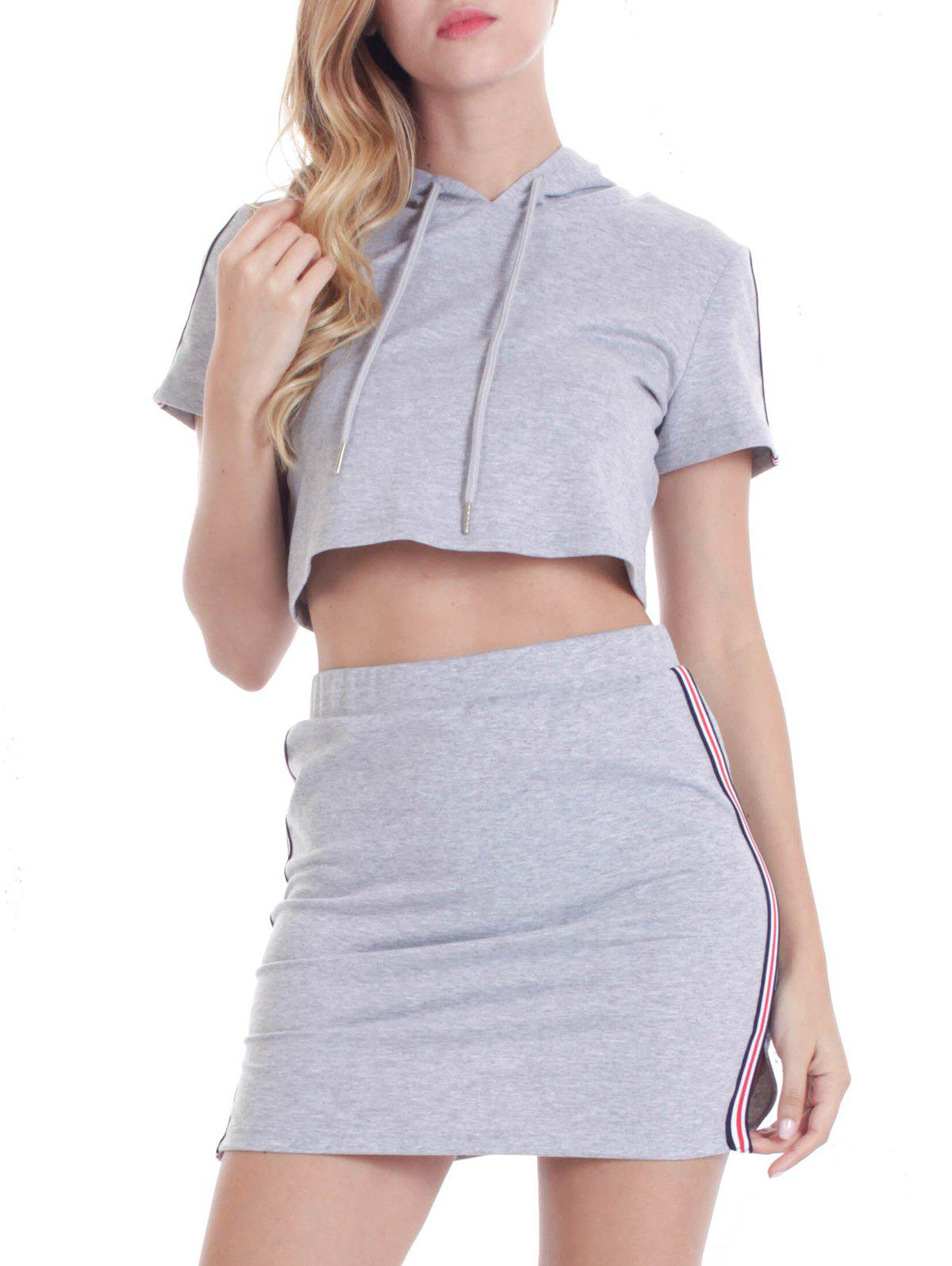 Shops Hooded Striped Top with Mini Skirt