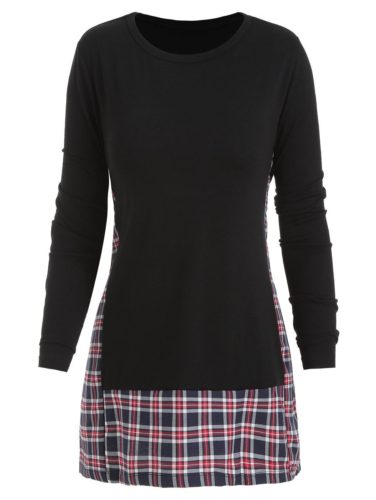 Outfit Checked Panel Long Sleeve Top