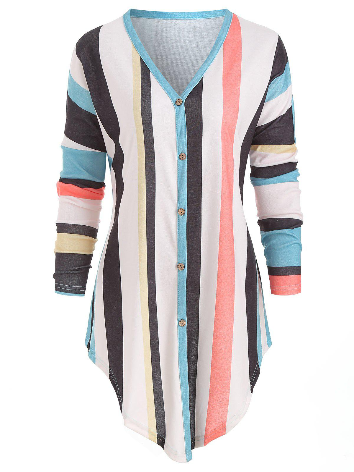 New Striped Button Up Knotted Top