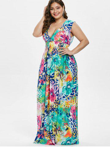 Plus Size Floral Plunging Shirred Dress 871a1b93a