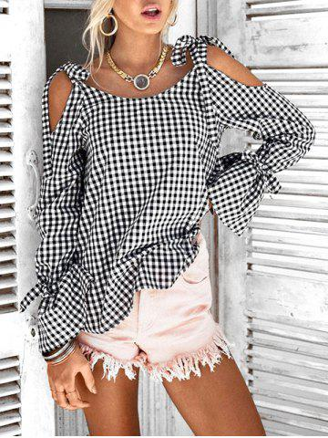 Cold Shoulder Tie Checked Top