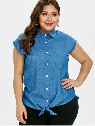 Tied Front Short Sleeve Plus Size Denim Shirt