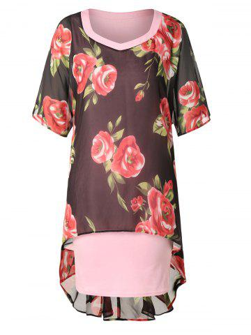 Plus Size High Low Floral Print Dress