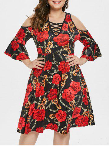 Plus Size Criss Cross Printed A Line Dress
