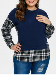 Long Sleeve Checked Panel Plus Size Sweatshirt -