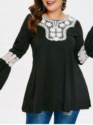 Plus Size Lace Insert Long Sleeve T-shirt -