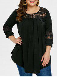 Plus Size Round Neck Embroidery T-shirt -