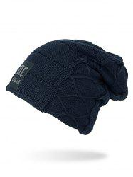 Letters Applique Plush Knitted Beanie Cap -