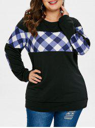 Elbow Patch Plus Size Plaid Print Sweatshirt -