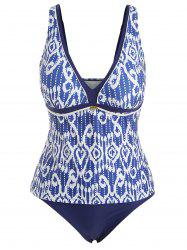 Plus Size Printted Plunge Tankini Set -