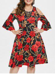 Plus Size Criss Cross Printed A Line Dress -