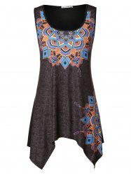 Ethnic Print Asymmetrical Plus Size Tank Top -