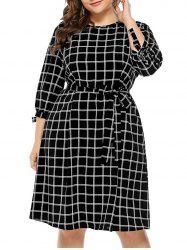 Plus Size Plaid Self Tie Dress -