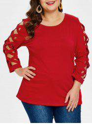Plus Size Criss Cross Sleeve Round Neck T-shirt -