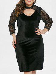 Lace Sleeve Plus Size Velvet Bodycon Dress -