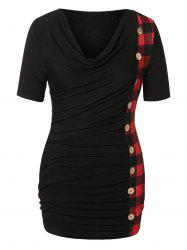 Plus Size Cowl Neck Buttons Plaid T-shirt -