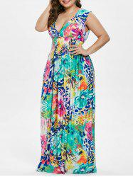 Plus Size Floral Plunging Shirred Dress -
