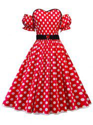 Polka Dot Plus Size Off The Shoulder A Line Dress -