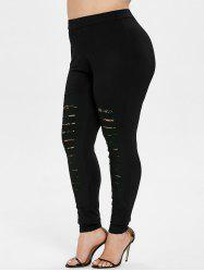 Plus Size Ripped Skinny Leggings -