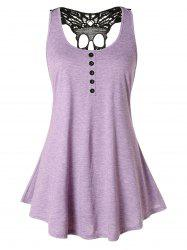 Plus Size Skull Lace Trapeze Tank Top -