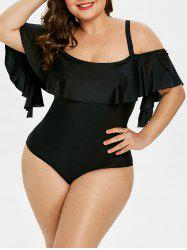 Back Cut Out Plus Size Ruffle Embellished Swimwear -