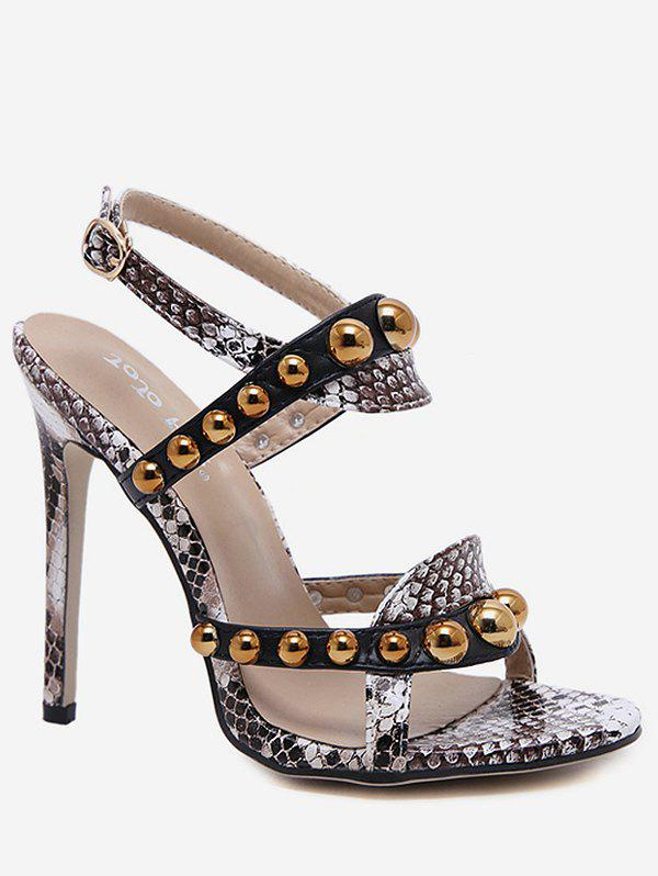 Discount Ankle Strap Studded Heeled Sandals