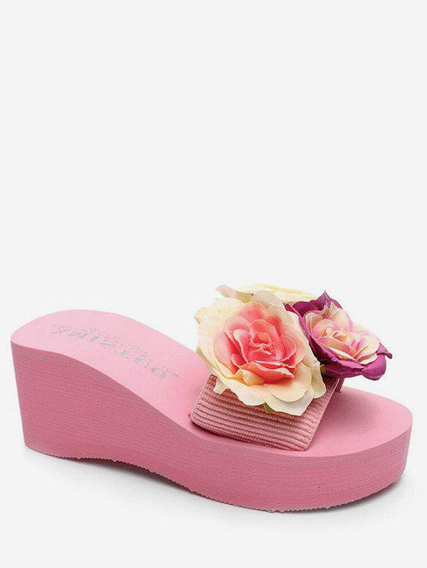 Outfits Flower Applique Platform Slippers