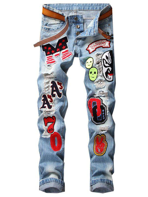 New Button Fly Letter Face Appliques Ripped Straight Jeans
