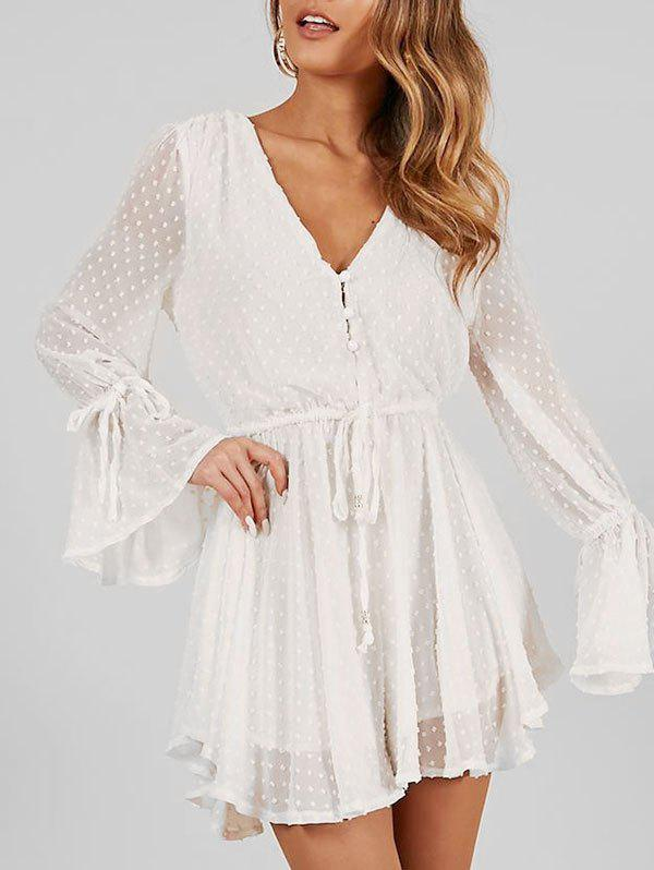 Cheap V Neck Flare Sleeve Romper