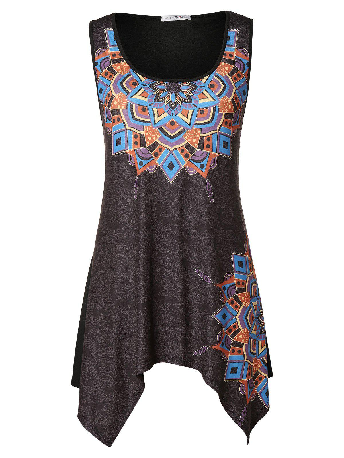 Affordable Ethnic Print Asymmetrical Plus Size Tank Top