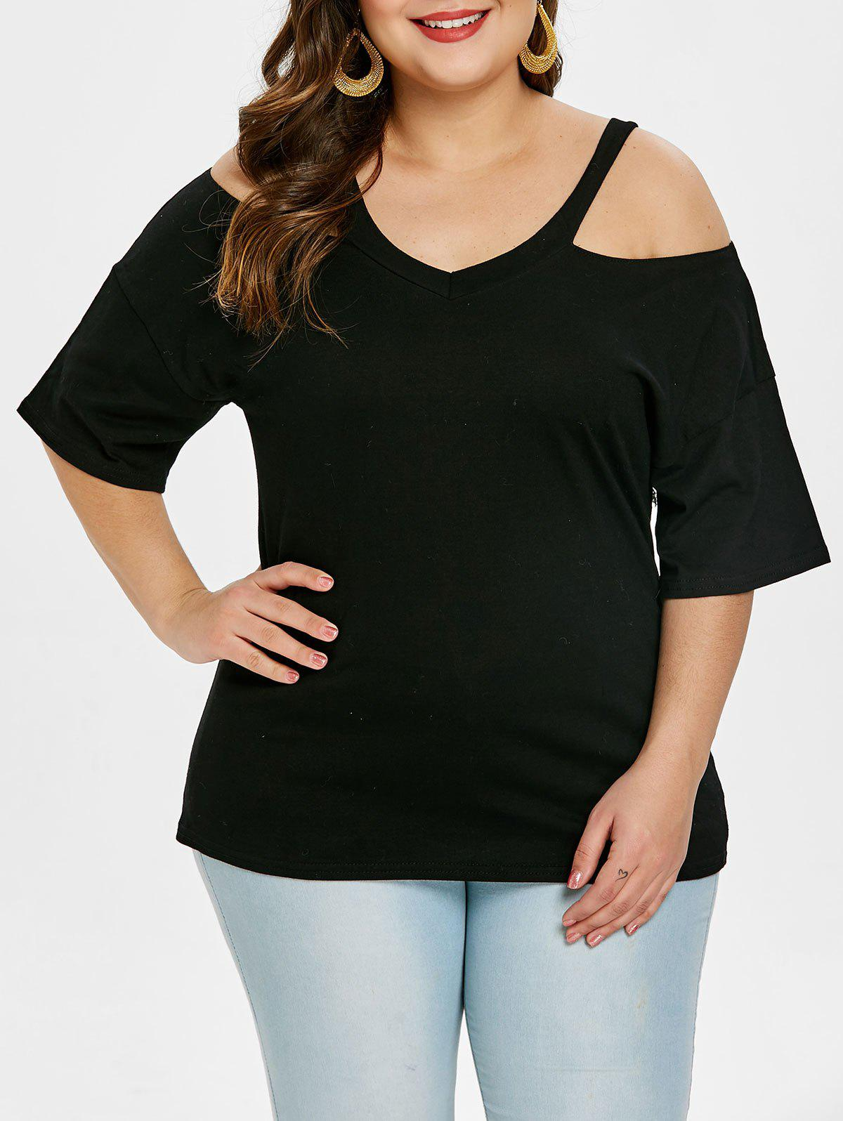 d14d6f9b246 Fashion Half Sleeve Plus Size V Neck Tee